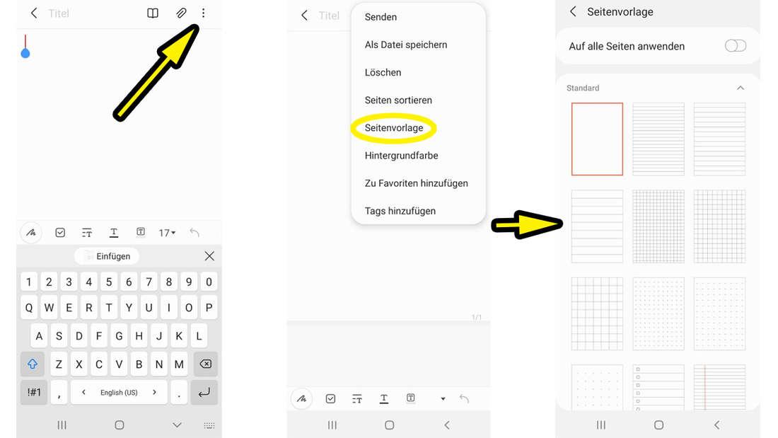 Die Samsung Notes-App, die es erlaubt, Seitenvorlagen zu benutzen.