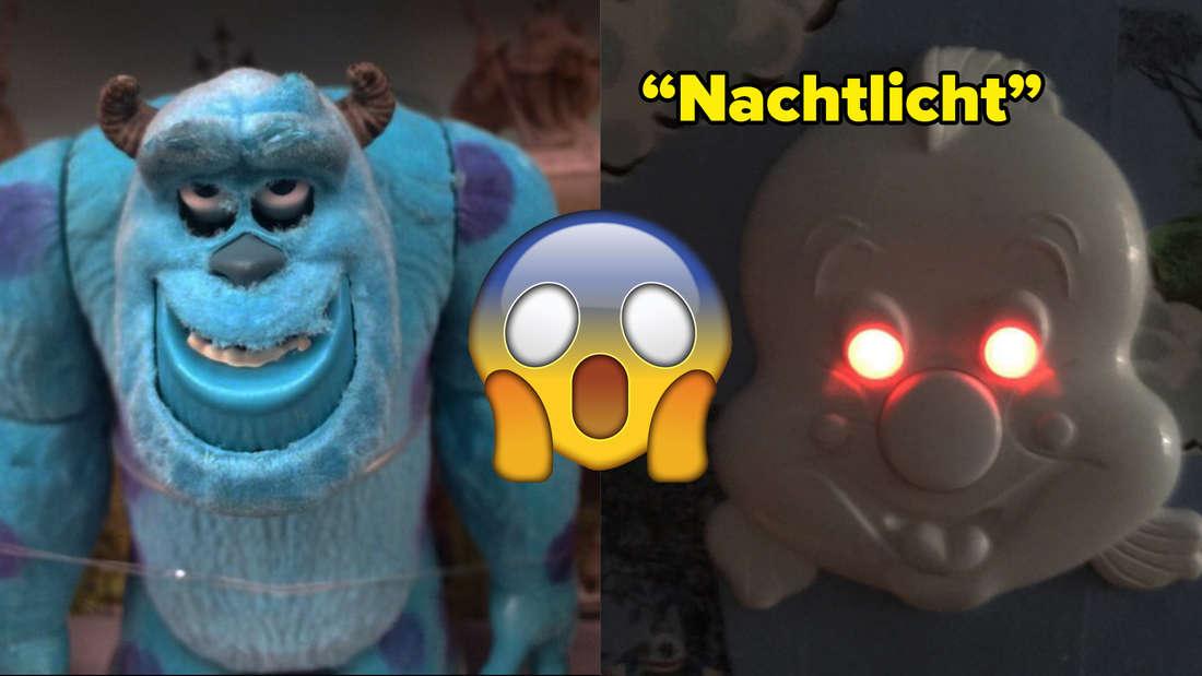 """Sulley aus """"Die Monster AG"""" als Spielzeug, was durch die Augen sehr gruselig aussieht und Fabius aus Disneys """"Arielle die Meerjungfrau"""" als Nachtlicht, das sehr gruselig aussieht"""