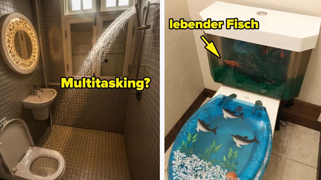 Eine Toilette, in der das Wasser aus der Dusche direkt rein spritzt und eine Toilette, in deren Wassertank ein Fisch wohnt.