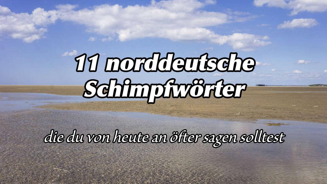 """Ein Bild von der Nordseeküste vor St. Peter Ording, auf dem steht """"11 norddeutsche Schimpfwörter, die du von heute an öfter sagen solltest."""""""