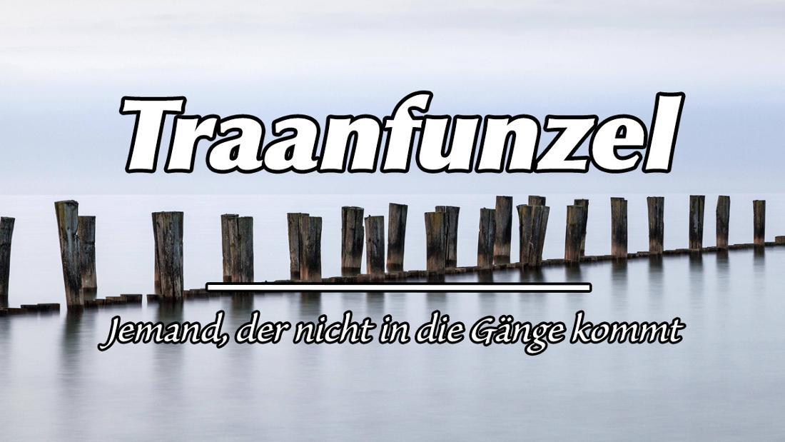 """Steg am Nationalpark Vorpommersche Boddenlandschaft. Auf dem Bild steht """"Traanfunzel"""". Als Erklärung """"Jemand, der nicht in die Gänge kommt""""."""