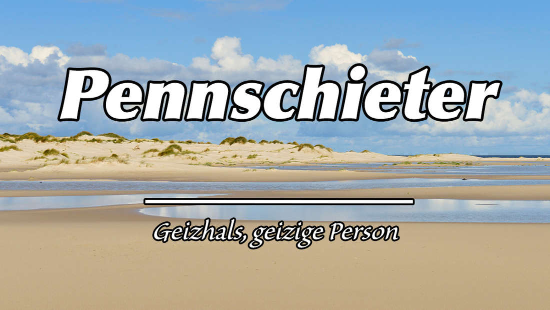 """Meer und Dünen auf der ostfriesischen Insel Amrum. Auf dem Bild steht """"Pennschieter"""". Als Erklärung """"Geizhals, geizige Person."""""""