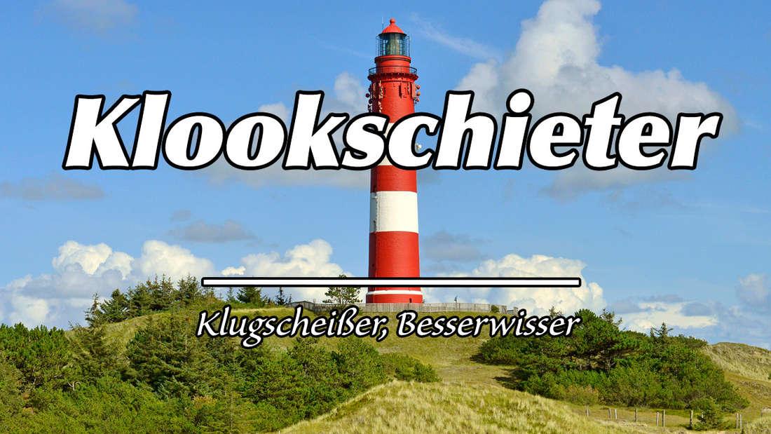 """Leuchtturm Amrum. Auf dem Bild steht """"Klookschieter"""". Als Erklärung steht """"Klugscheißer, Besserwisser."""""""