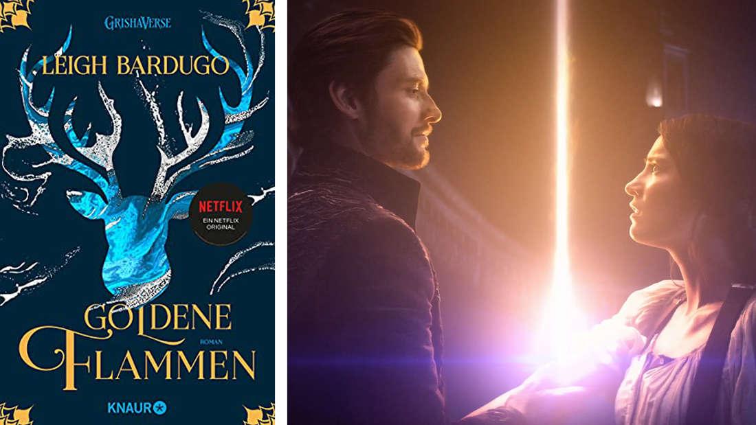 """Das Buchcover von """"Goldene Flammen"""": Ein Hirschkopf auf blauem Grund. Daneben der Dunkle, der Alinas Arm hält aus dem eine Lichtsäule austritt."""
