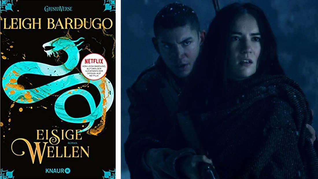 """Das Buchcover von """"Eisige Wellen"""": Eine helle Schlange auf dunklem Grund. Daneben Alina und Mal, die in einem verschneiten Wald stehen."""
