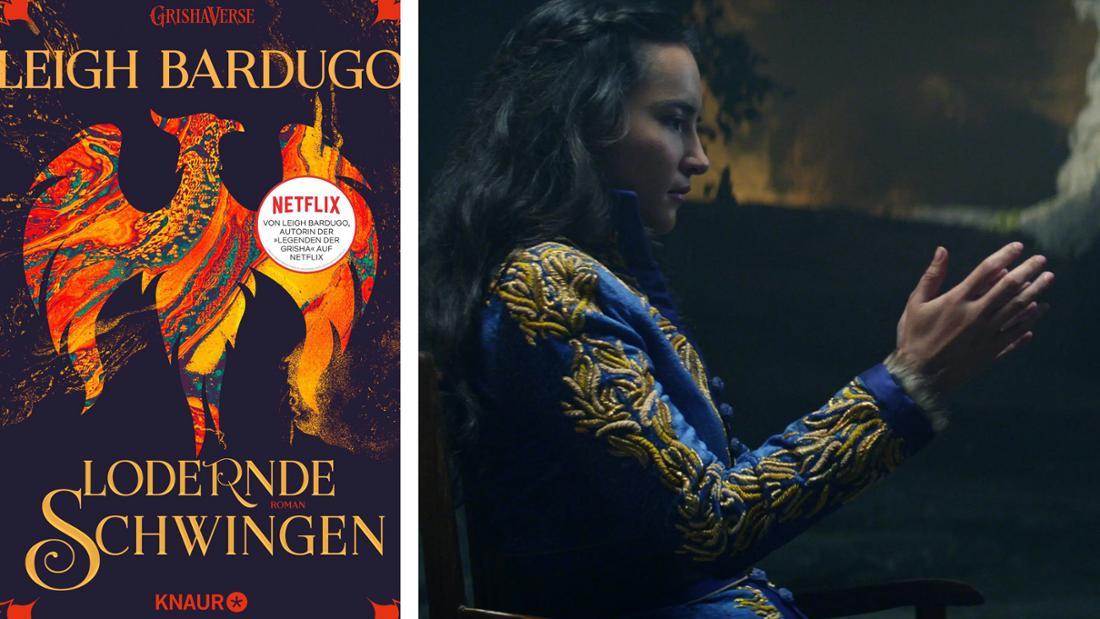 """Das Buchcover von """"Lodernde Schwingen"""": Ein roter Phoenix auf dunklem Grund. Daneben Alina, die konzentriert ihre Hände aneinander hält."""