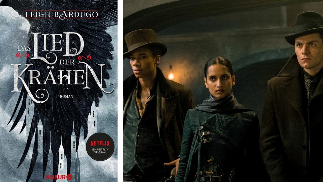 """Das Buchcover von """"Das Lied der Krähen"""": Eine Krähe fliegt über eine im Nebel liegende Stadt. Daneben die drei Mitglieder der Krähen aus der Netflix-Serie."""