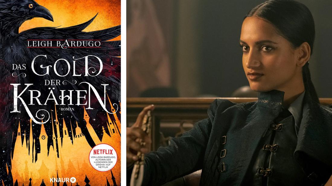 """Das Buchcover von """"Das Gold der Krähen"""": Eine Krähe auf goldenem Grund. Daneben Inej aus der Netflix-Serie, Mitglied der Krähen."""