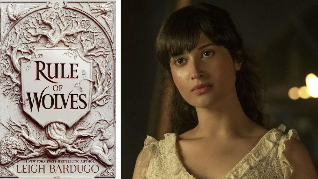"""Das Buchcover von """"Rule of Wolves"""": Ein silbernes Wappen eingefasst von einem Baum. Daneben Zoya aus der Netflix-Serie."""