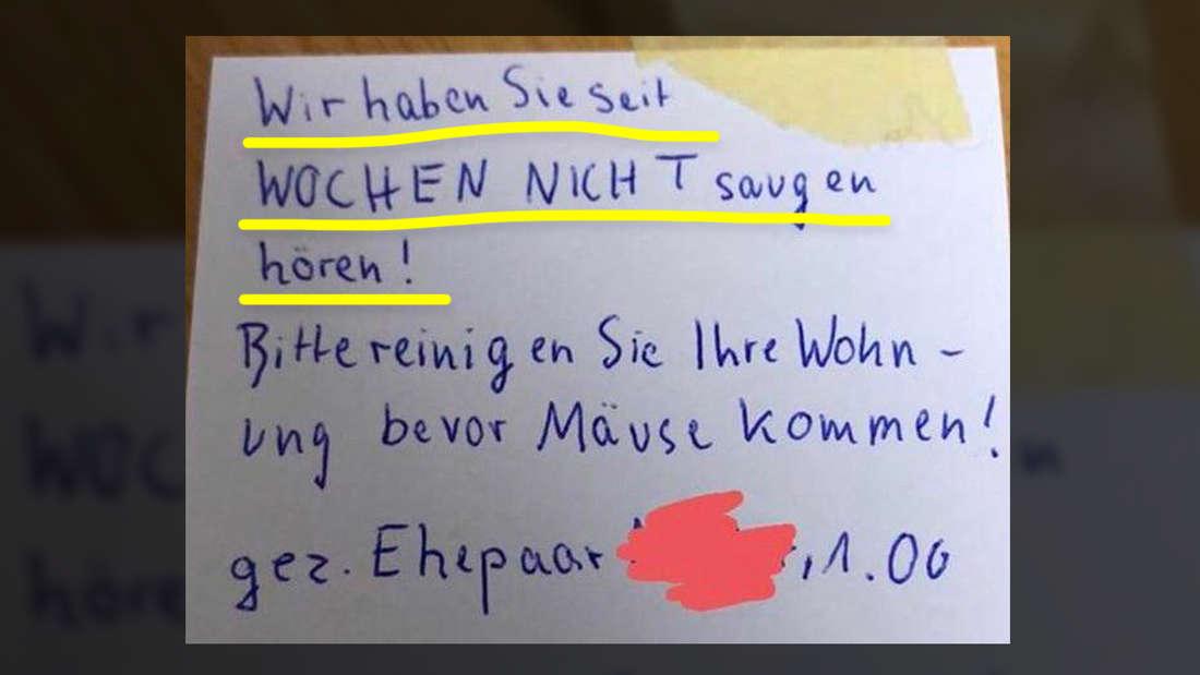 """Ein handgeschriebener Zettel mit der Aufschrift """"Wir haben Sie seit Wochen nicht saugen hören! Bitte reinigen Sie ihre Wohnung bevor die Mäuse kommen!"""""""