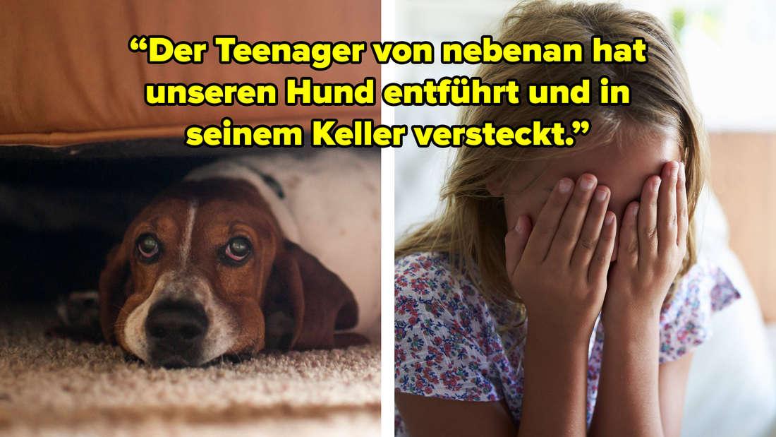 """Ein Hund unter einem Sofa und Mädchen, dass sich die Hände über die Augen schlägt. Text: """"Der Teenager von nebenan hat unseren Hund entführt und in seinem Keller versteckt."""""""