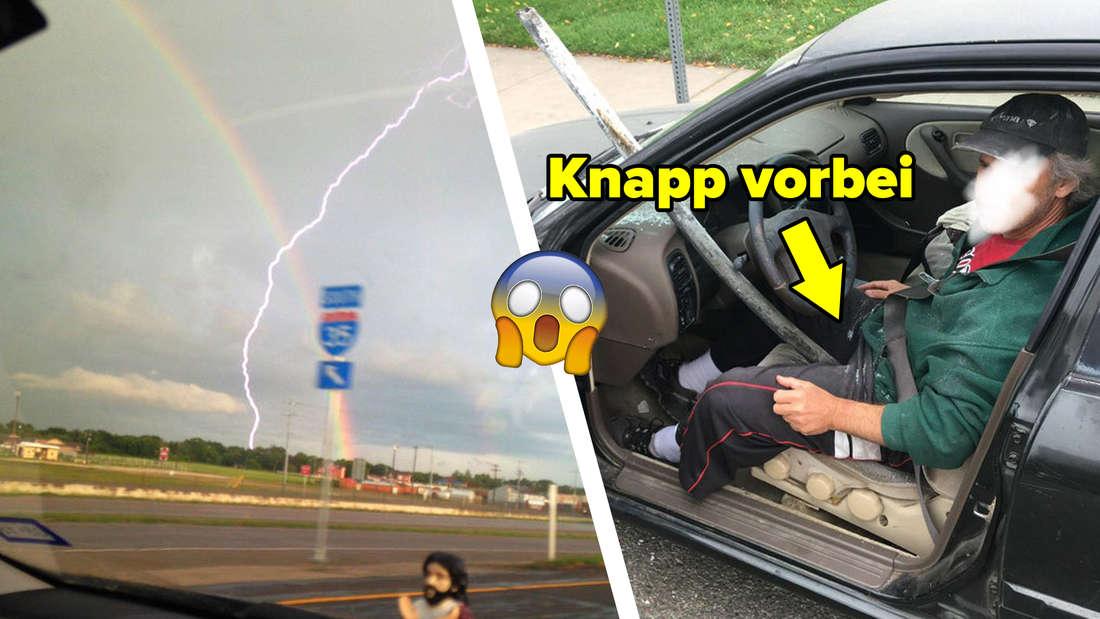 Ein Blitz und ein Regenbogen kreuzen sich. Eine Metallstange durchbohrt eine Windschutzscheibe und verfehlt den Mann im Wagen nur haarscharf.