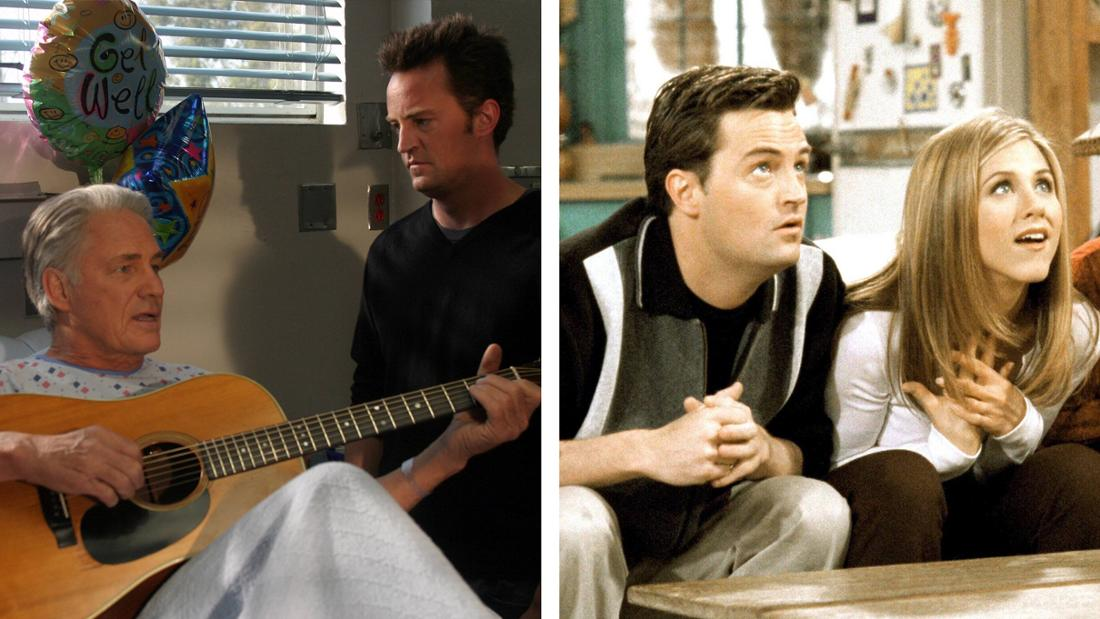 """Matthew Perry in """"Scrubs - Die Anfänger"""" an der Seite seines Onscreen-Vaters. Matthew Perry als Chandler Bing in """"Friends""""."""