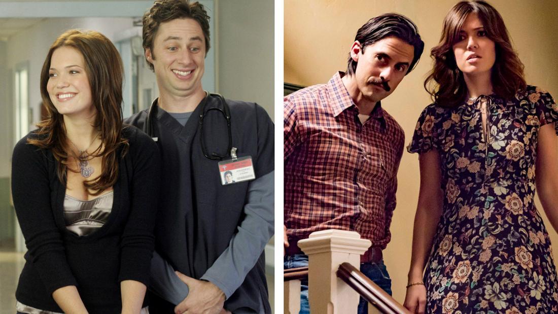 """Mandy Moore neben Zach Braff in """"Scrubs - Die Anfänger"""" und neben Milo Ventimiglia in """"This is us"""""""