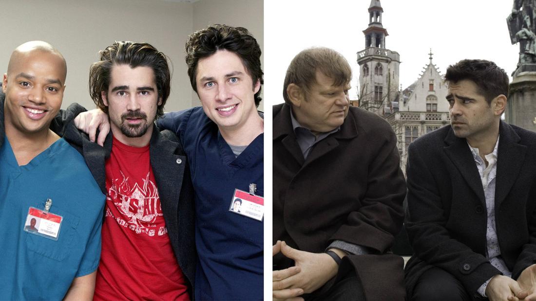 """Colin Farrell am Set von """"Scrubs - Die Anfänger"""" neben Donald Faison und Zach Braff und in """"Brügge sehen ... und sterben?"""" neben Brendan Gleeson"""