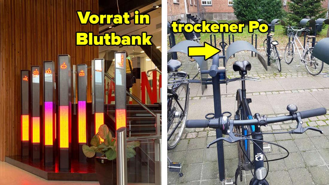 Eine Anzeige in einer Blutbank zeigt die Vorräte nach Blutgruppe. Ein Fahrradständer mit kleinem Dach, um den Sattel vor Regen zu schützen.
