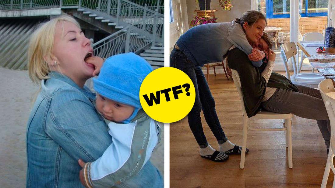 Ein zweigeteiltes Bild: Links ein Foto von einem Baby, das seiner Mutter versehentlich die Hand in den Mund steckt, was durch die Perspektive aber so aussieht, als würde die Mutter mit einer riesigen Zunge an ihrem Kind lecken. Rechts ein Foto von einer Frau, die eine andere, auf einem Stuhl sitzende Frau von hinten umarmt. Die Anordnung der Köpfe der beiden lässte es so aussehen als hätten beide total verbogene Hälse.