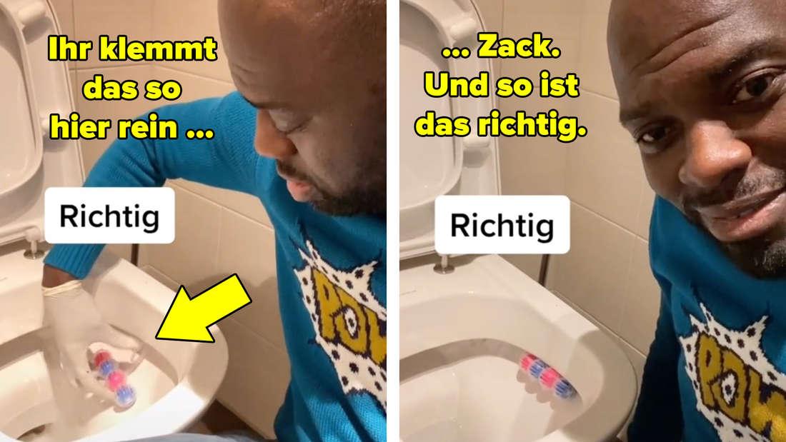"""Hans Sarpei klemmt den Bügel des Klosteins unter den Toilettenrand: """"Zack. Und so ist das richtig."""""""