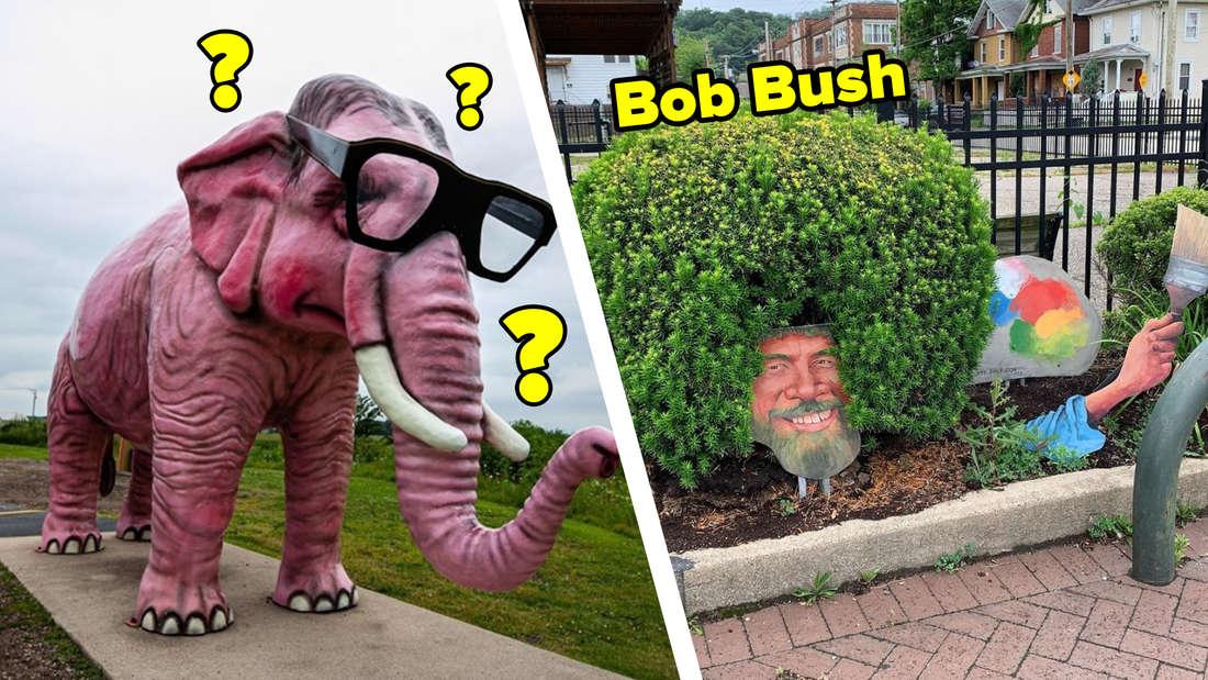Ein pinker Elefant mit Nerdbrille und ein Busch, der aussieht wie Maler Bob Ross.