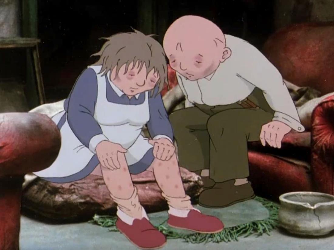 Ein Zeichentrickfilm mit einem älteren Paar, das zusammen in einem Haus sitzt. Beide sehen mager und müde aus.