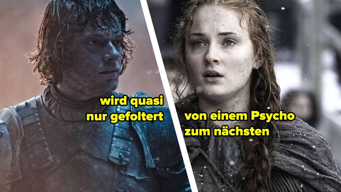Theon Graufreud, Text: wird quasi nur gefoltert. Sansa Stark, Text: von einem Psycho zum nächsten