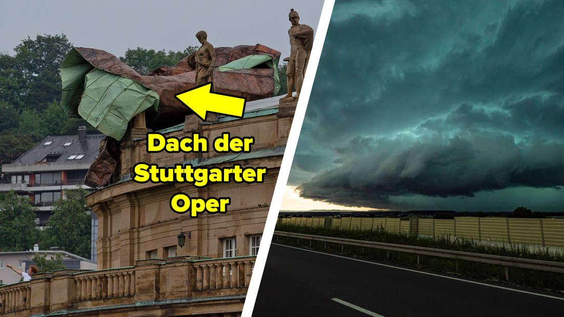 Ein Teil des Dachs der Stuttgarter Oper liegt geradezu zusammengeknüllt am oberen Rand des Gebäudes. Eine gewaltige Gewitterwolke über einem Feld.