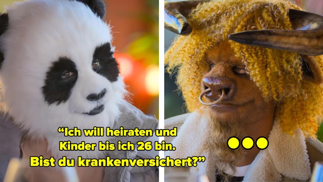 """Ein Panda sagt zu einem Stier: """"Ich will heiraten und  Kinder bis ich 26 bin.  Bist du krankenversichert?"""""""