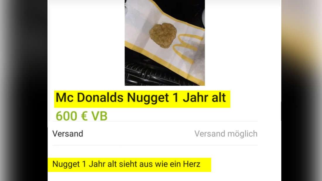 """Ein Bild einer Anzeige auf eBay Kleinanzeigen, in der jemand ein McDonalds Nugget, welches schon ein Jahr alt ist, für 600 Euro VB verkauft. Die Person beschreibt es als """"Nugget 1 Jahr alt sieht aus wie ein Herz."""""""