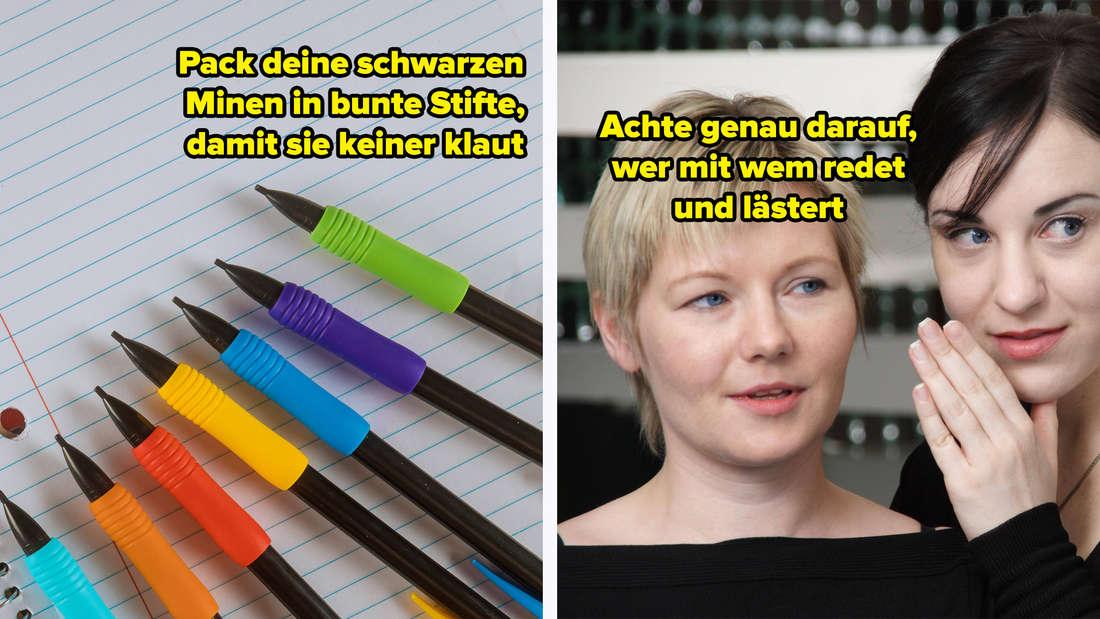 """Ein Bild von schwarzen Stiften mit blauer, oranger, roter, gelber, lilafarbener und grüner Gummiummantelung, die auf einem Notizblock liegen. Darauf steht """"Pack deine schwarzen Minen in bunte Stifte, damit sie keiner klaut."""" Daneben ein Bild von zwei Frauen, die aussehen, als würden sie lästern. Auf dem Bild steht """"Achte genau darauf, wer mit wem redet und lästert."""""""
