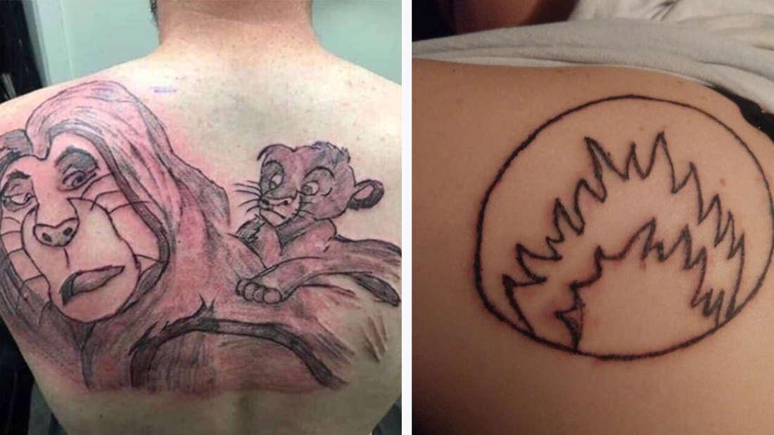 """Ein sehr schlecht gestochenes und gerötetes Tattoo von Mufasa und Simba aus Disneys """"König der Löwen"""" und ein schlecht gestochenes Tattoo einer Flamme in einem Kreis"""