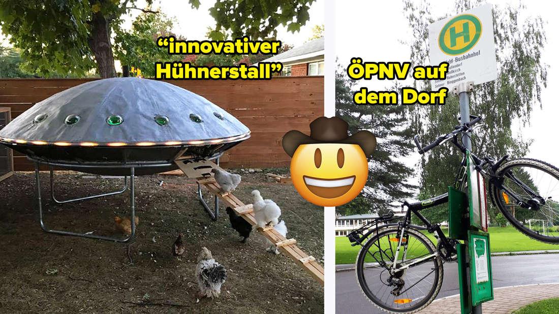 Hühner, die in einen Stall laufen, der wie ein Ufo aussieht. Text: innovativer Hühnerstall. Daneben ein Bild von einem Fahrrad, dass an eine Bushaltestelle gekettet ist. Text: ÖPNV auf dem Dorf.