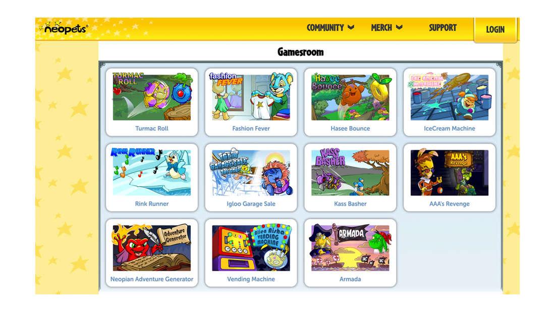 Die NeoPets-Website.