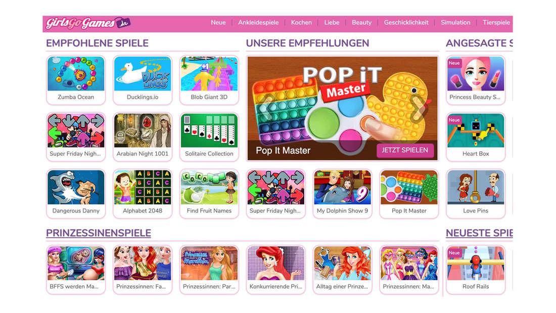 Die Website von GirlsGoGames.de, auf der viele bunte Spiele zu sehen sind.