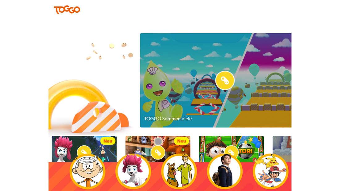 Die Startseite von toggo.de, auf der viele bunte Icons von Sendungen und Spielen zu sehen sind.