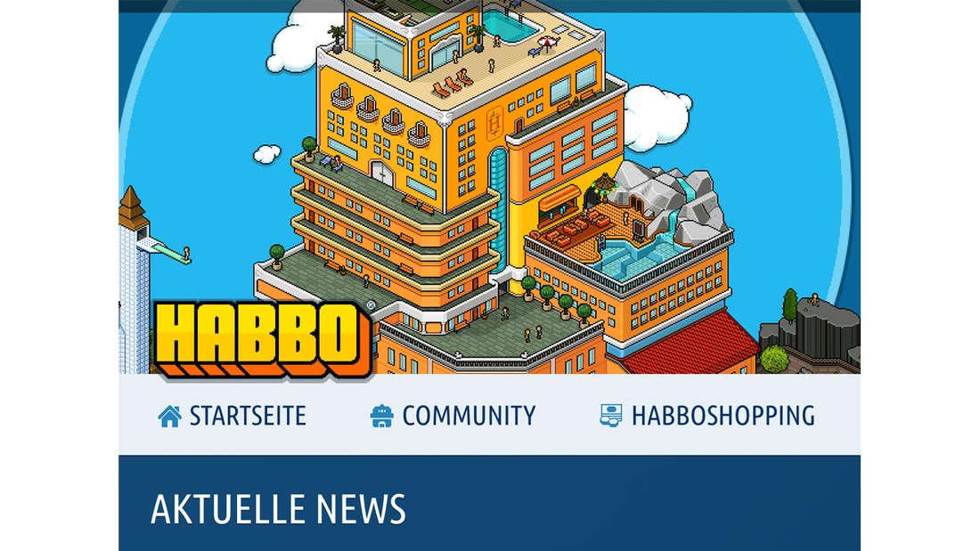 Die Startseite von Habbo Hotel.