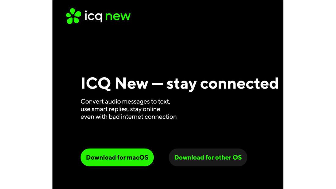 Die Startseite vom neuen ICQ New.