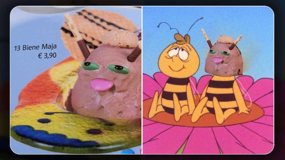 Linke Bildhälfte: Ein sehr verkorkstes Biene Maja Eis aus einem Eisdielen-Menü. Rechte Bildhälfte: Ein Bild von Willy und Biene Maja, bei dem Majas Kopf mit dem Kopf des verkorksten Eises ausgetauscht wurde.