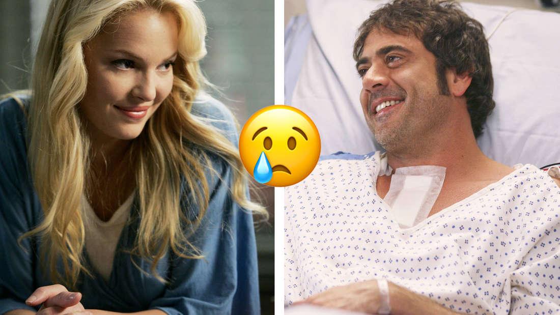 Izzie steht lächelnd neben Dennys Bett in Grey's Anatomy.