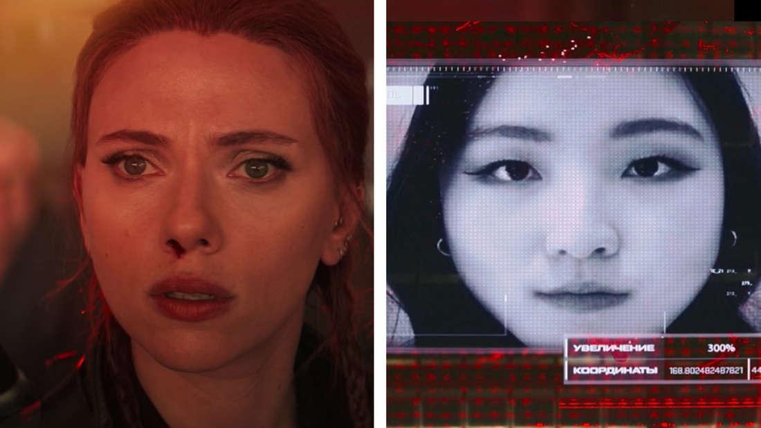 Dreykov zeigt Natasha auf seinem Screen die entführten Mädchen aus dem Widow-Programm