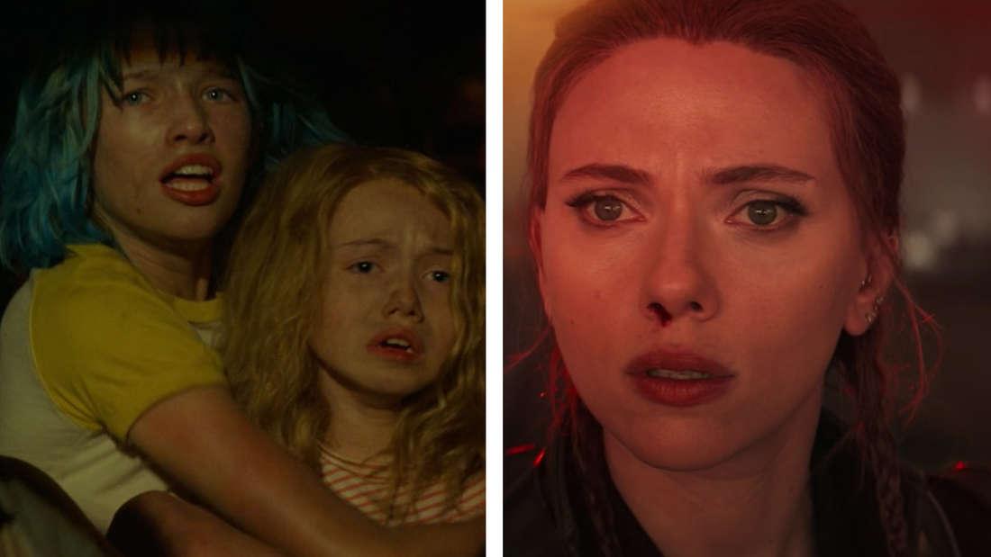 Die junge Natasha hält ihre kleine Schwester im Arm, beide sitzen ängstlich in einem Container voller Mädchen. Daneben die erwachsene Natasha mit blutender Nase und schockierten Gesichtsausdruck.