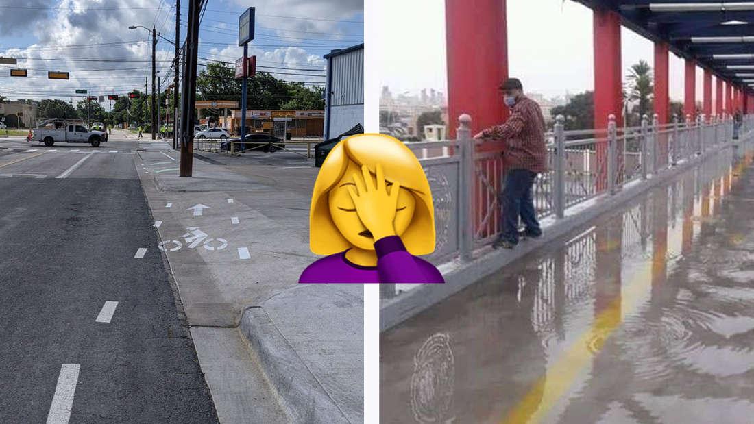 Ein Fahrradweg, der halb von der Straße abgeht und dann wackelig weitergezeichnet ist und eine Brücke, auf der das Wasser nicht abfließt.