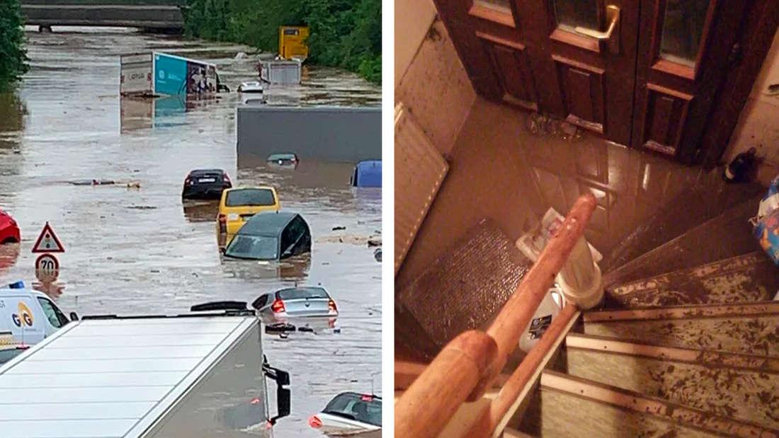 Linke Bildhälfte: Eine komplette Straße unter Wasser, nur noch Autodächer schauen aus dem Wasser heraus. Rechte Bildhälfte: Wasser und Schlamm dringen in ein Treppenhaus ein.