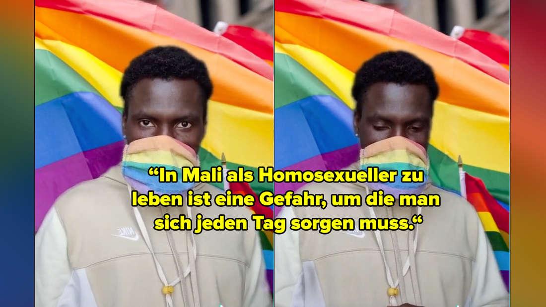 """Das erste Video von Sekou Yatara alias Remy, auf seinem TikTok-Kanal mit dem Namen lgbtq_asylant. Text: Ein Zitat aus dem Interview mit BuzzFeed Deutschland: """"In Mali als Homosexueller zu leben, ist eine Gefahr, um die man sich jeden Tag sorgen muss."""""""