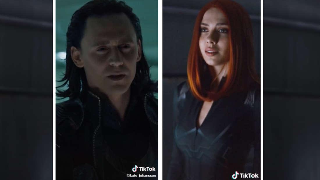 """Ein Filmausschnitt mit Loki aus """"Avengers"""" und TikTokerin Kate Johansson in Black Widow-Outfit in derselben Szene."""