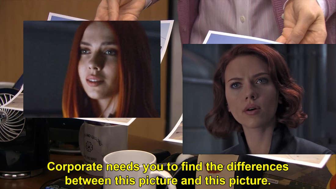 """Ein """"The Office""""-Meme das zwei Bilder miteinander vergleicht: Scarlett Johansson und TikTokerin Kate Johansson"""
