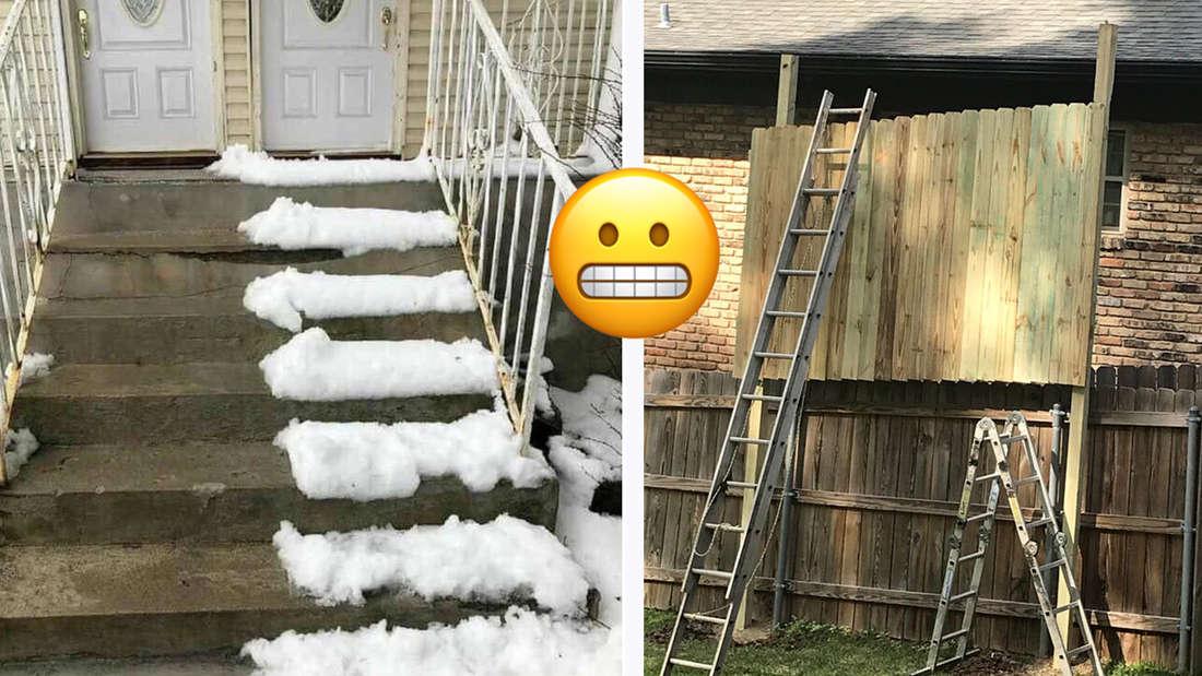 Eine Treppe, auf welcher der Schnee nur auf einer Seite geräumt wurde und ein Sichtschutz gegen Nachbarn, der aus mehreren Holzpfeilern besteht.