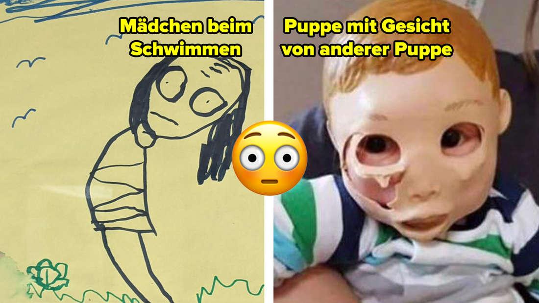 Eine gruselige Zeichnung, die angeblich ein Mädchen beim Schwimmen zeigt, aber mit verzerrtem Gesicht. Und eine Puppe, die das Gesicht einer anderen Puppe trägt