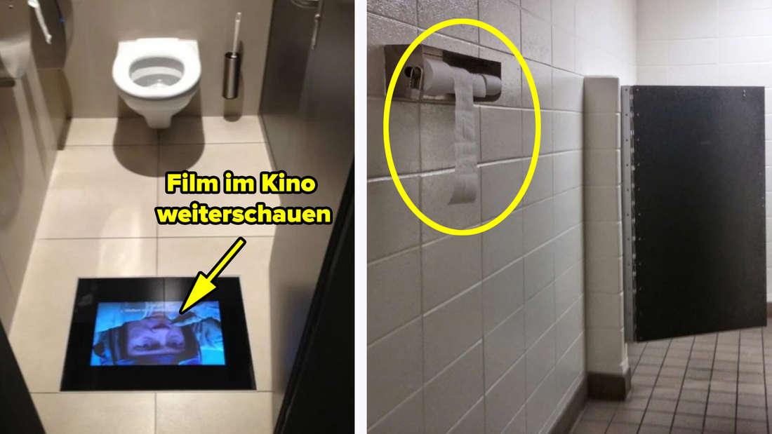 Eine Kino-Toilette, die es erlaubt, den Film auf dem Klo weiter zu gucken und eine Toilette, bei der das Toilettenpapier außerhalb der Kabine hängt.