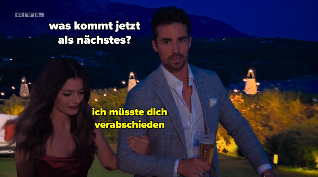 Dario fragt Maxime, was jetzt kommt, und sie sagt, dass sie ihn jetzt verabschieden muss.