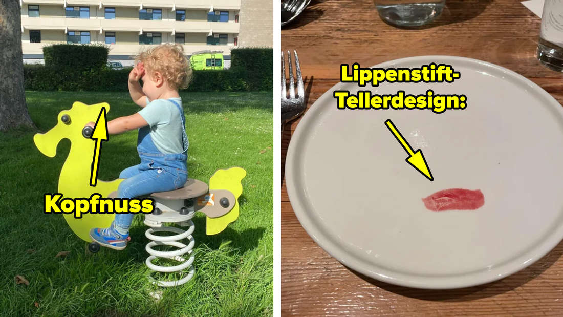 Ein Kind, das auf einem Schaukelpferd in Form eines Seepferds sitzt, das so wippt, dass ein Teil gegen den Kopf des Kindes schwingt. Text: Kopfnuss. Rechts daneben ein Teller, auf dem das Design so ist, dass es aussieht, das ein Lippenstift-Abdruck drauf ist.